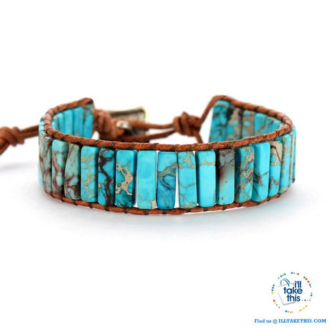 Bohemian Handmade Multi Color Natural Stone Bracelets, Turquoise or Tan Colors - I'LL TAKE THIS