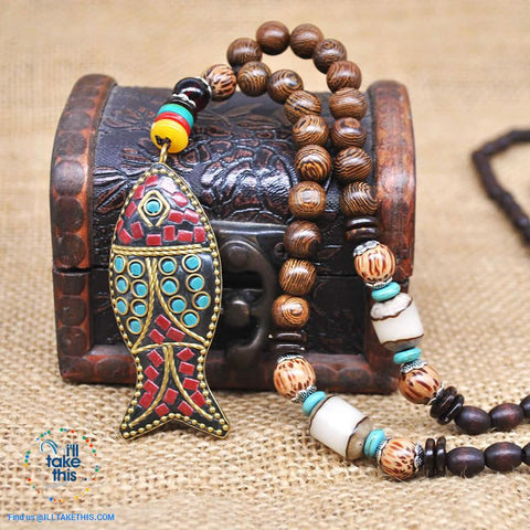Image of Handmade Buddhist Mala Wood Beads Pendant & Necklace - 11 Statement  Necklaces to choose from - I'LL TAKE THIS