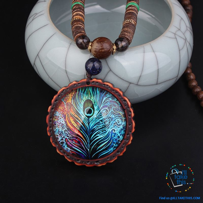 "🦚 Handmade Peacock Feather Pendand - Necklace Sandalwood/Acrylic Beads 32"" long - I'LL TAKE THIS"