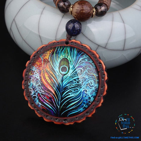 "Image of 🦚 Handmade Peacock Feather Pendand - Necklace Sandalwood/Acrylic Beads 32"" long - I'LL TAKE THIS"
