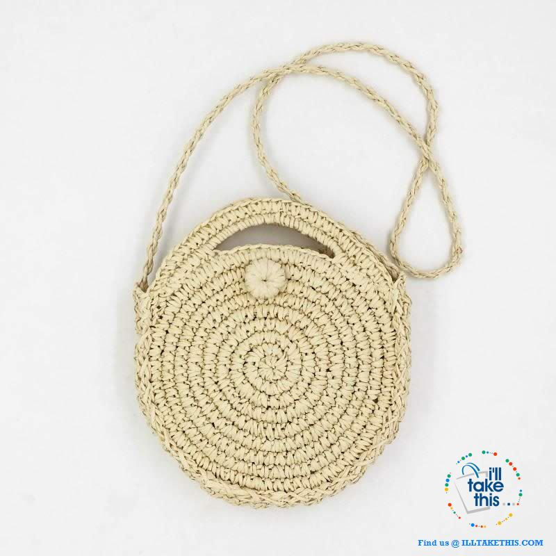 Handwoven Round Rattan Straw handbag, ideal Crossbody bag coupled with handles - 2 Colors options - I'LL TAKE THIS