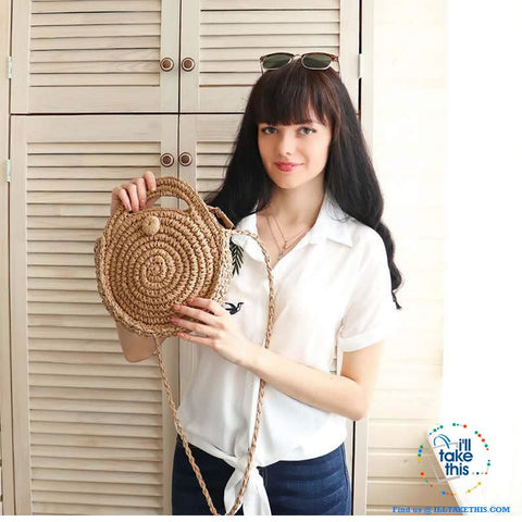 Image of Handwoven Round Rattan Straw handbag, ideal Crossbody bag coupled with handles - 2 Colors options - I'LL TAKE THIS