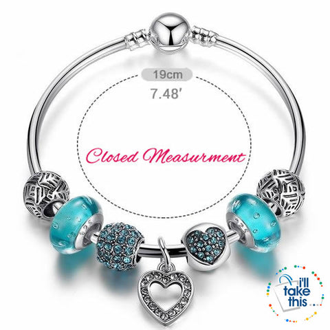 Image of Silver Plated Pink or Blue Heart Charm Bracelets, ideal Beaded Bangle/Jewelry Gift for all occasions - I'LL TAKE THIS