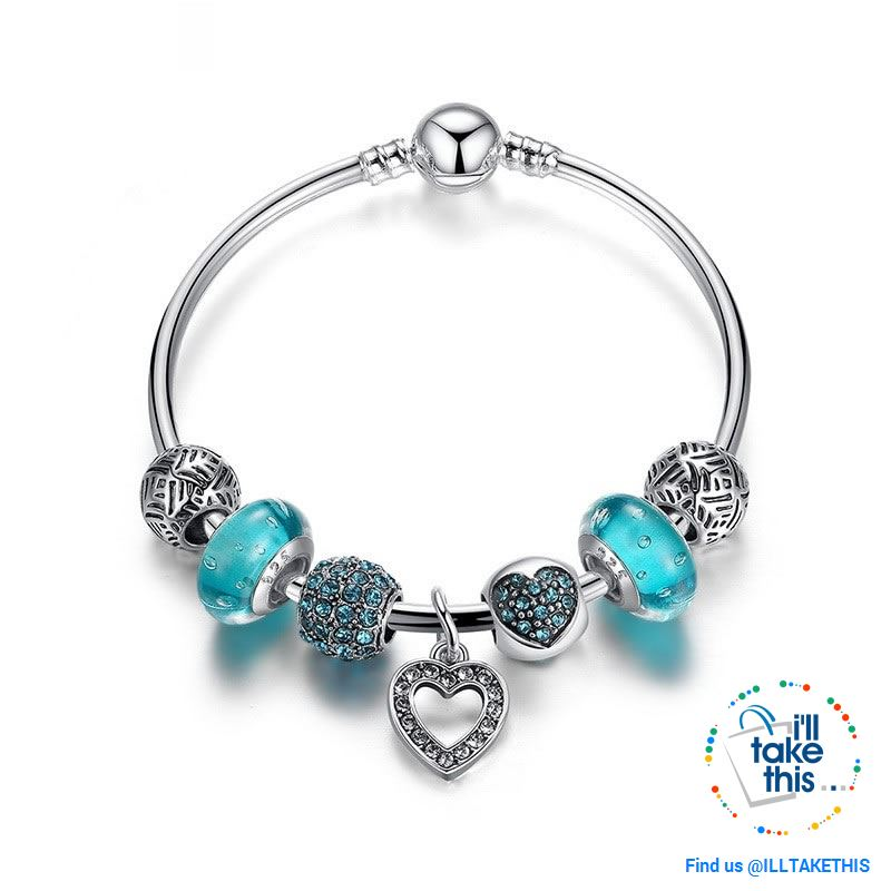 Silver Plated Pink or Blue Heart Charm Bracelets, ideal Beaded Bangle/Jewelry Gift for all occasions - I'LL TAKE THIS