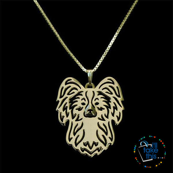 Papillon Dog Pendant in Gold, Silver or Rose Gold with FREE Link chain - I'LL TAKE THIS