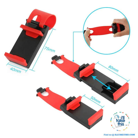 Image of iPhone/Android Universal Cell SmartPhone/GPS Car Steering Wheel Clip, Mount/Holder in Black or Red! - I'LL TAKE THIS