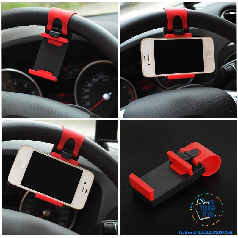 iPhone/Android Universal Cell SmartPhone/GPS Car Steering Wheel Clip, Mount/Holder in Black or Red! - I'LL TAKE THIS