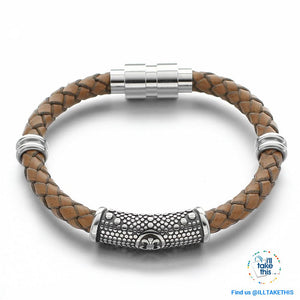 Braided Leather Bracelet with Stainless Steel Iris Flower/Fleur De Lis, 2 x Charms + Magnetic Clasp