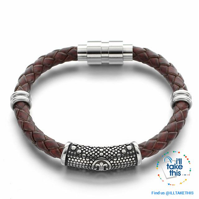 Braided Leather Bracelet with Stainless Steel Iris Flower/Fleur De Lis, 2 x Charms + Magnetic Clasp - I'LL TAKE THIS
