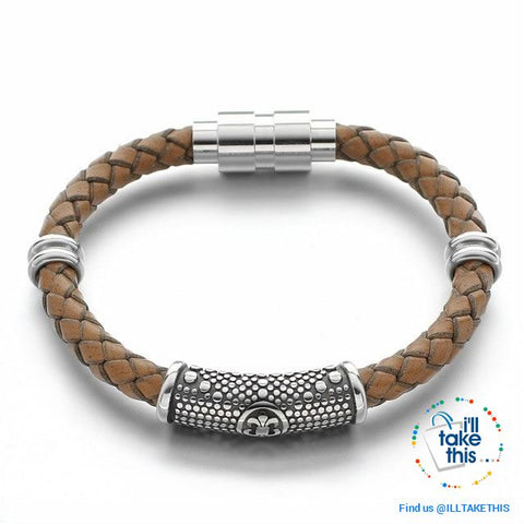 Image of Braided Leather Bracelet with Stainless Steel Iris Flower/Fleur De Lis, 2 x Charms + Magnetic Clasp - I'LL TAKE THIS