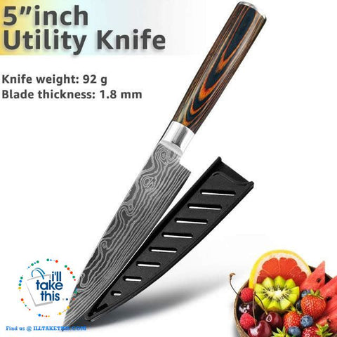 Image of Japanese Style High Carbon Stainless Steel Lasered design Chef Kitchen Knives - I'LL TAKE THIS