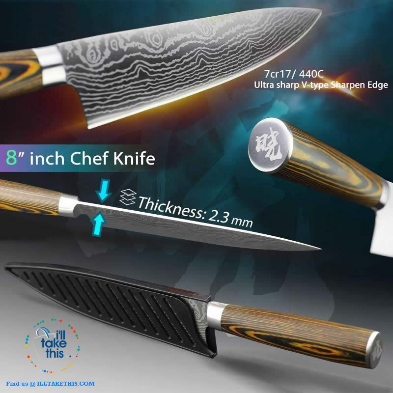 Japanese Style High Carbon Stainless Steel Lasered design Chef Kitchen Knives - I'LL TAKE THIS