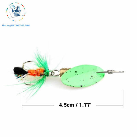 Image of JerkBaitPro™ SONIC Spinner 4 pack - Brass Body in a Classic Super bright colorful Blade Spinning bait - I'LL TAKE THIS