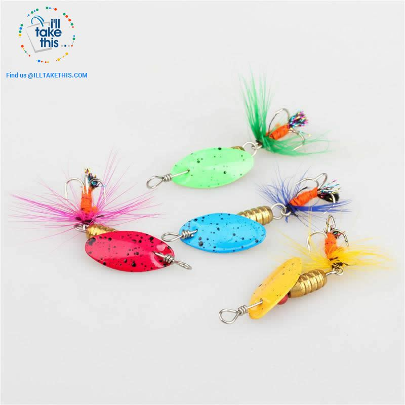 JerkBaitPro™ SONIC Spinner 4 pack - Brass Body in a Classic Super bright colorful Blade Spinning bait - I'LL TAKE THIS