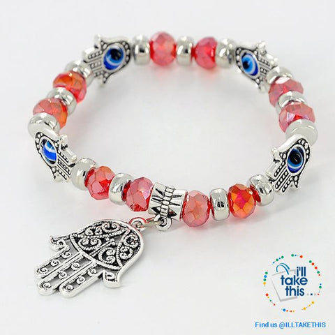 Image of Handmade elasticized Kabbalah Fatima Hamsa Hand Blue Evil Eye Charms Bracelets, attract good Luck - I'LL TAKE THIS