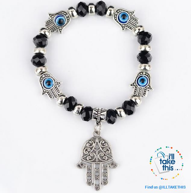 Handmade elasticized Kabbalah Fatima Hamsa Hand Blue Evil Eye Charms Bracelets, attract good Luck - I'LL TAKE THIS