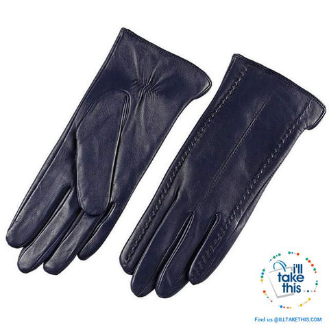 Image of Full-finger Women's Gloves handcrafted in Super-soft Lambskin, lined in Vegan fur - 7 Colors - I'LL TAKE THIS