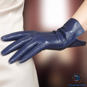 Full-finger Women's Gloves handcrafted in Super-soft Lambskin, lined in Vegan fur - 7 Colors