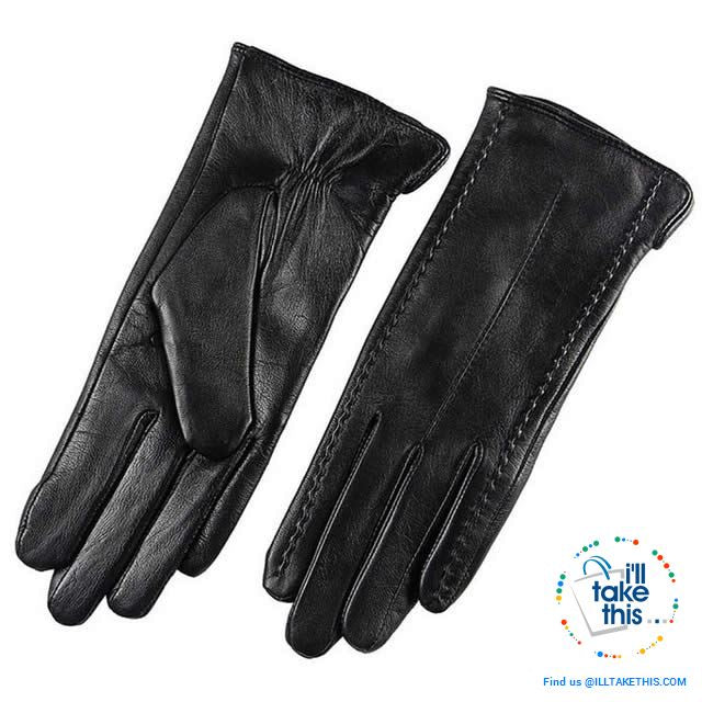 Full-finger Women's Gloves handcrafted in Super-soft Lambskin, lined in Vegan fur - 7 Colors - I'LL TAKE THIS