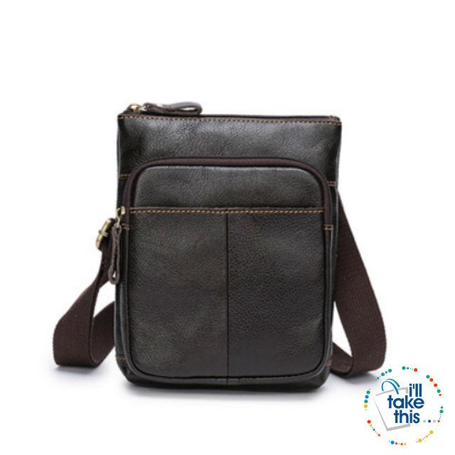 Man Bag in Cowhide Leather - Cross-body/Shoulder Strap, 2 Zipper + 1 Open pocket - 2 Colors - I'LL TAKE THIS