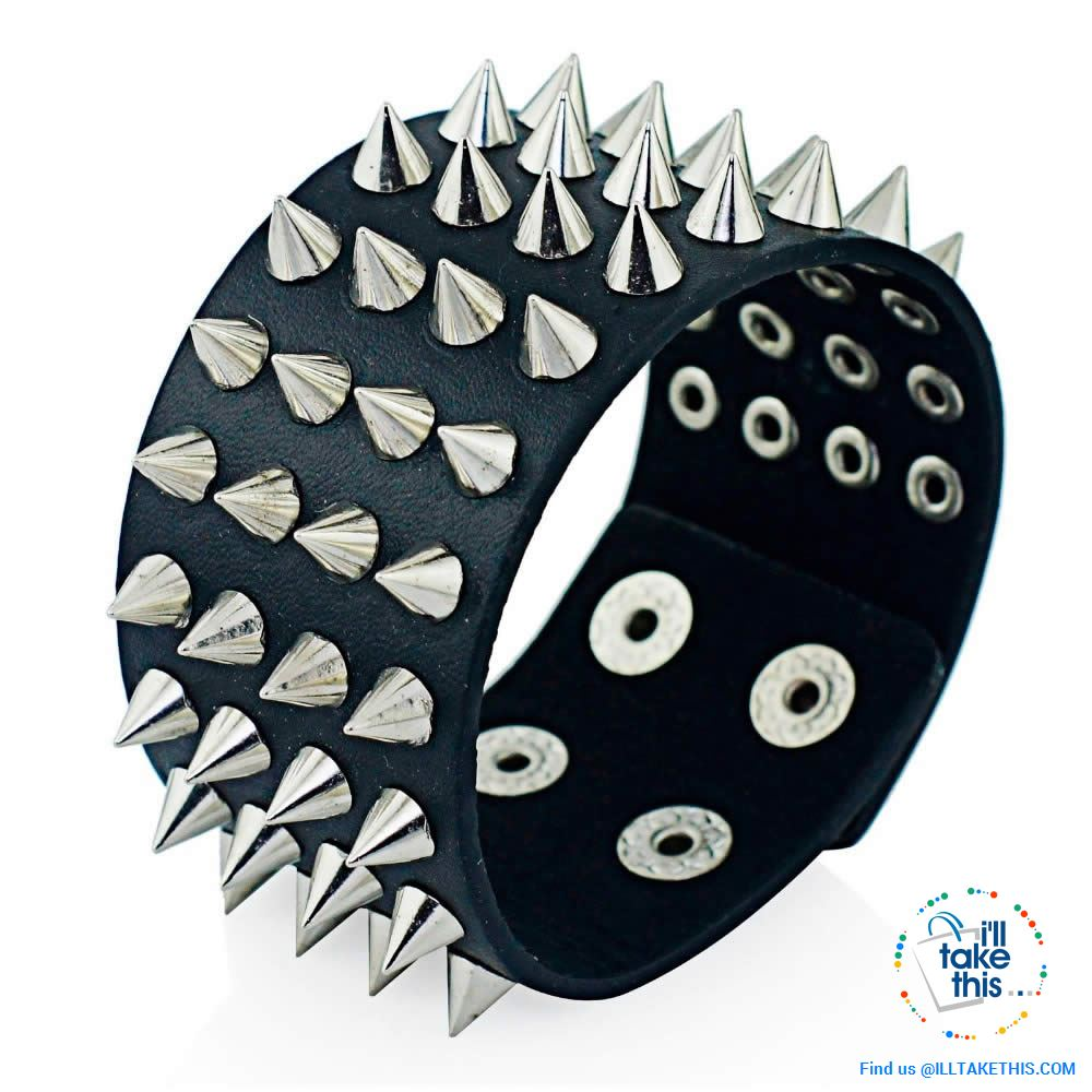 Unisex Studded Punk Wristbands, one color, on style Black with 4 rows of chrome studs - I'LL TAKE THIS