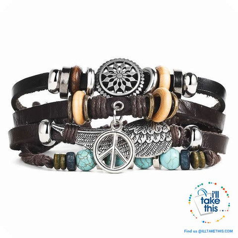 Image of Leather Wristband Punk Design Bracelets Unisex, Turkish Evil Eye, Female Owl, Ethnic Turquoise band - I'LL TAKE THIS