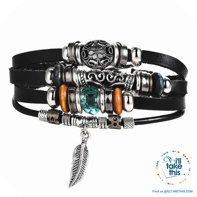 Leather Wristband Punk Design Bracelets Unisex, Turkish Evil Eye, Female Owl, Ethnic Turquoise band - I'LL TAKE THIS