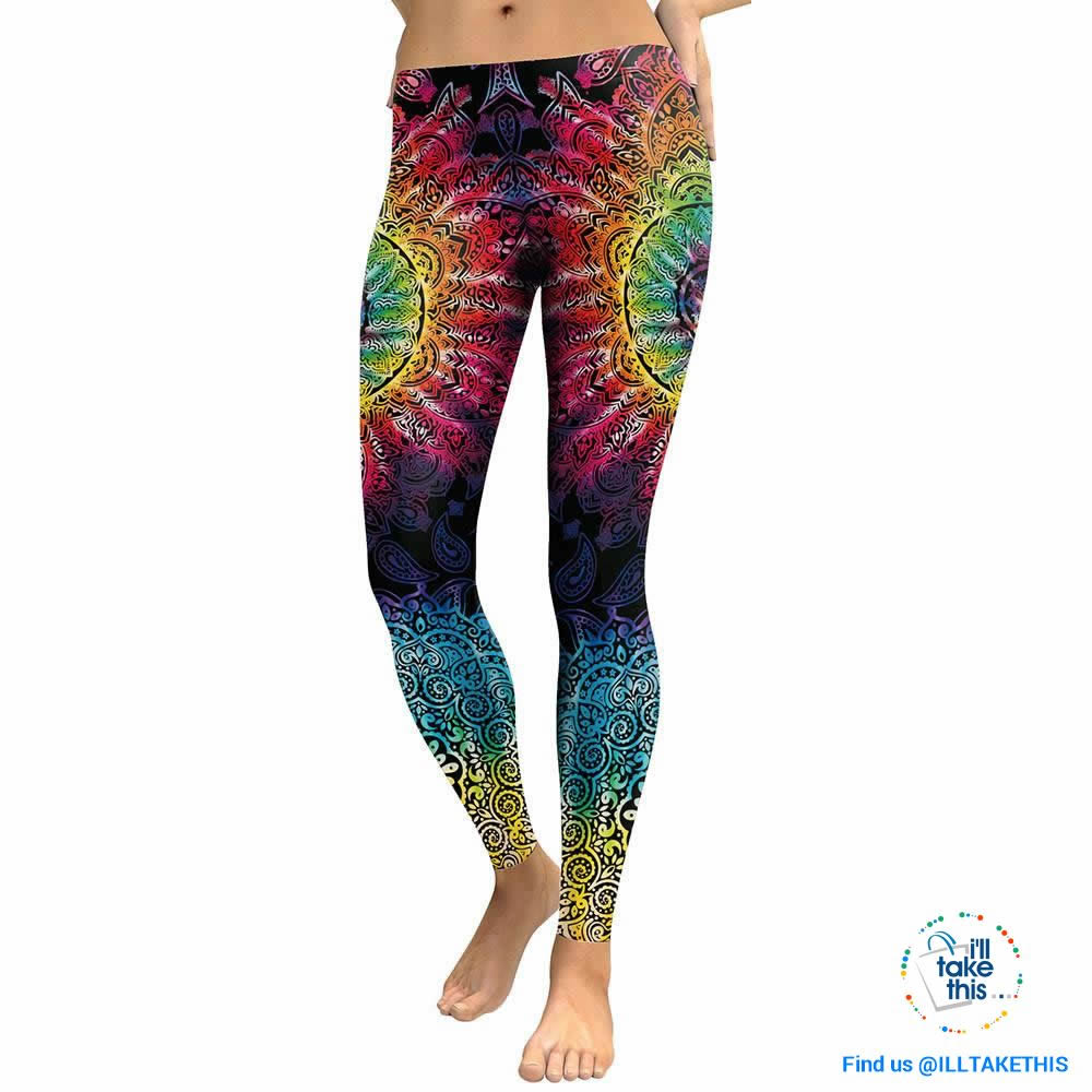 Mandala Flower 3D Printed Patchwork color Fitness Leggings, Slim fitting - I'LL TAKE THIS