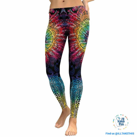 Image of Mandala Flower 3D Printed Patchwork color Fitness Leggings, Slim fitting - I'LL TAKE THIS