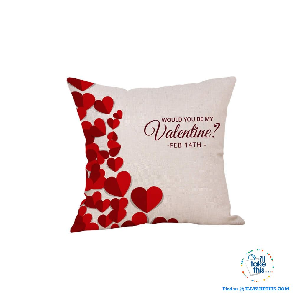💝 LOVE Heart Collection of Cotton Linen Pillow Case ideal Valentine's Day Gift, Very Romantic - I'LL TAKE THIS