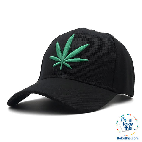 Image of Hemp Leaf Emblem Baseball Cap Unisex Sports leisure hats - Adjustable Snapback baseball cap, one size fits all