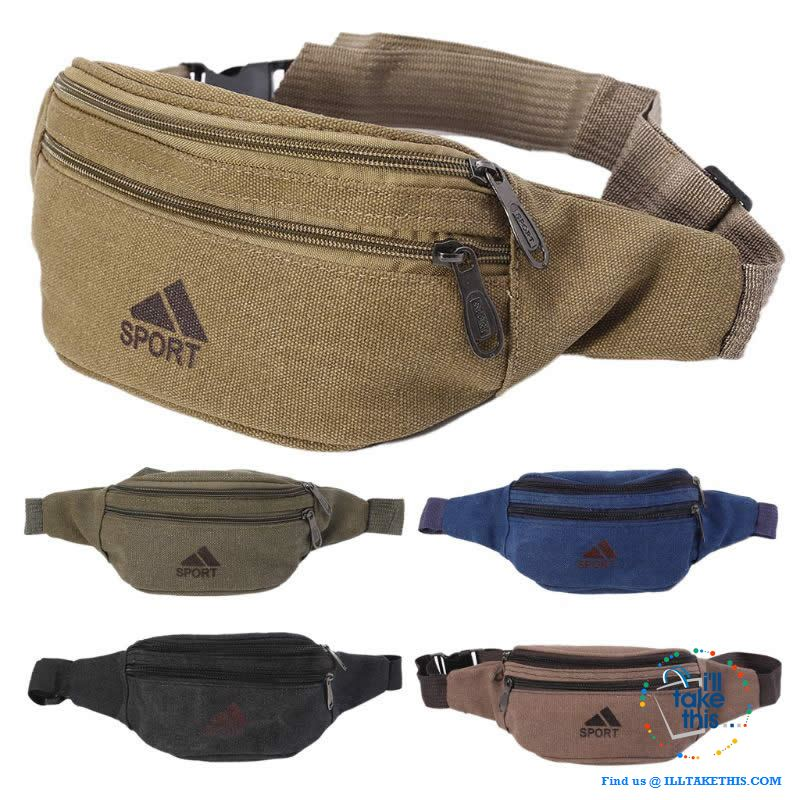 Dual Zipper Canvas Mens/Womens Bum Bag/Fany pack - 5 Colors - I'LL TAKE THIS