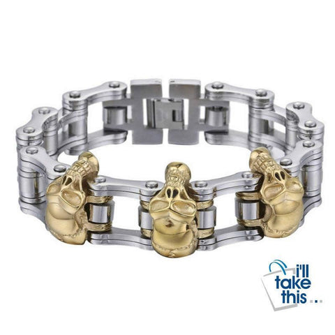 Image of Men's Biker Style Skull and Link Chain Bracelet in 316L Stainless Steel - I'LL TAKE THIS