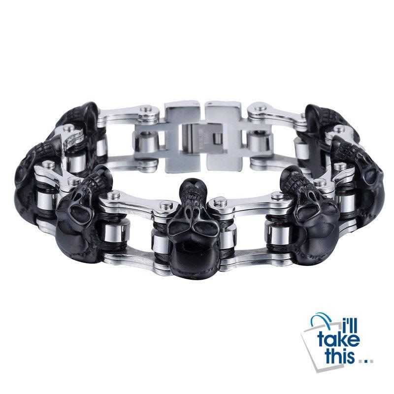 Men's Biker Style Skull and Link Chain Bracelet in 316L Stainless Steel - I'LL TAKE THIS