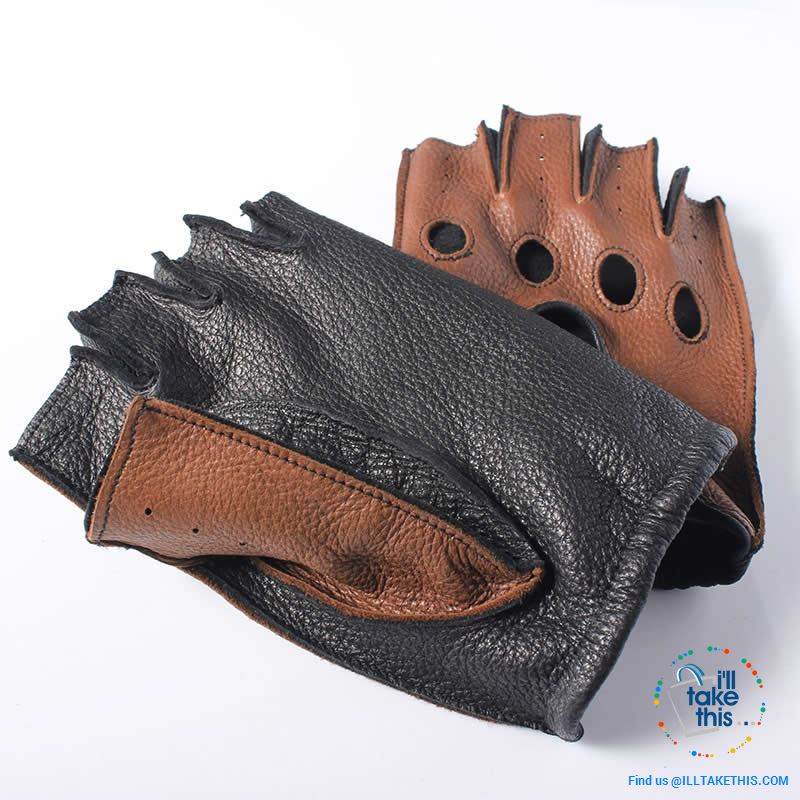 Men's Drivers Gloves Genuine Leather - Supersoft Deerskin Fingerless Gloves - 2 Colors - I'LL TAKE THIS