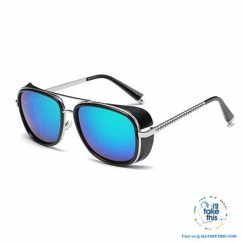 Image of Men's Goggle style polarized sunglasses, with Mirror lenses - 8 Lens Color Options - I'LL TAKE THIS