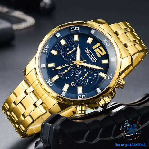 Image of Men's Luxury Business Watches, Stainless Steel Quartz Water-resistant Gold, Silver/White or Black - I'LL TAKE THIS