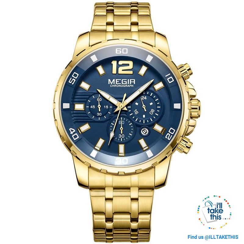 Men's Luxury Business Watches, Stainless Steel Quartz Water-resistant Gold, Silver/White or Black - I'LL TAKE THIS