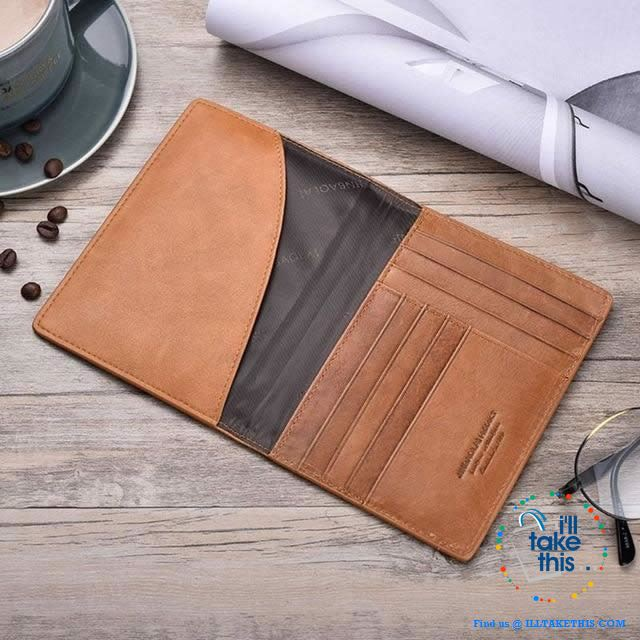Men's Mega 8/16 Card Wallet in Genuine Cowhide Leather with Passport compartment - Black or Brown - I'LL TAKE THIS