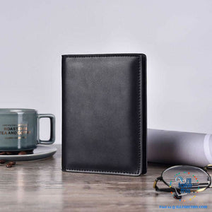 Men's Mega 8/16 Card Wallet in Genuine Cowhide Leather with Passport compartment - Black or Brown