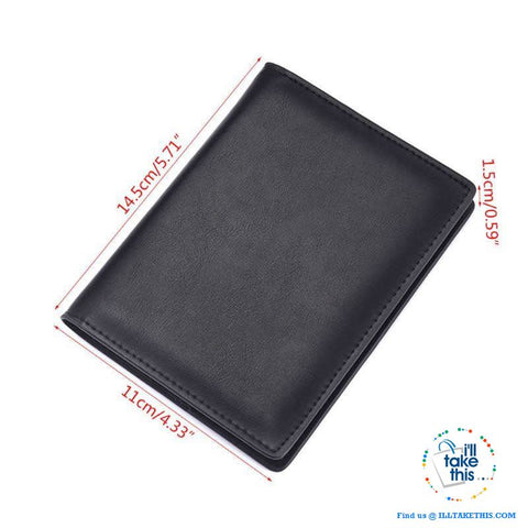 Image of Men's Mega 8/16 Card Wallet in Genuine Cowhide Leather with Passport compartment - Black or Brown - I'LL TAKE THIS