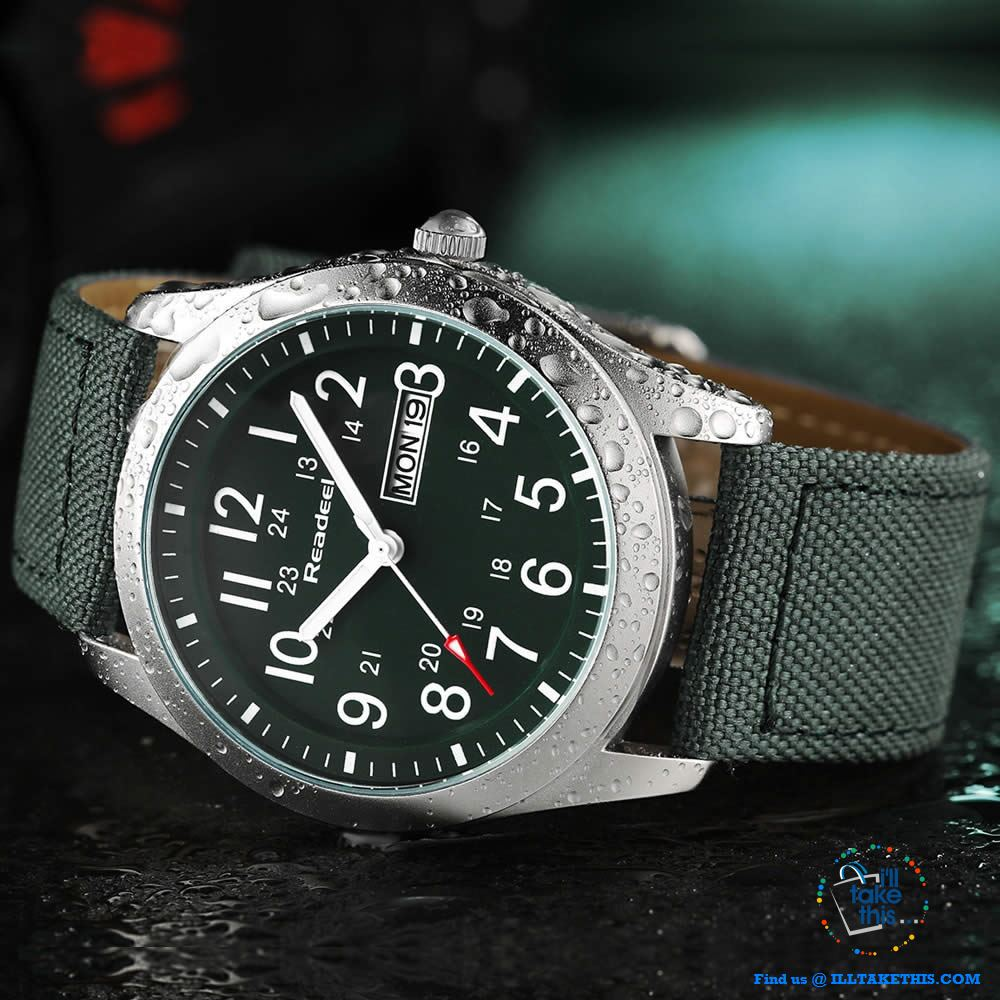 ⌚ Men Limited Edition Military Styled Watches with Canvas Wristband - 3 Color Face/Band Options - I'LL TAKE THIS