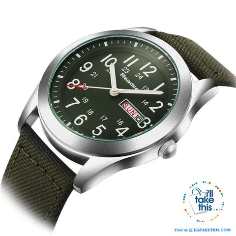Image of ⌚ Men Limited Edition Military Styled Watches with Canvas Wristband - 3 Color Face/Band Options - I'LL TAKE THIS