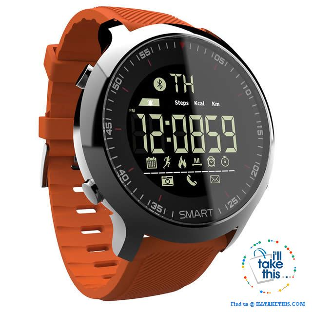 Men's Sports Smartwatch - Water-resistant, pedometers, message, reminder, Bluetooth for iOS/Android - I'LL TAKE THIS