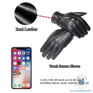 Touch screen Soft Sheepskin Leather Gloves in Black