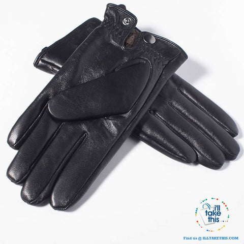 Image of Touch screen Soft Sheepskin Leather Gloves in Black - I'LL TAKE THIS