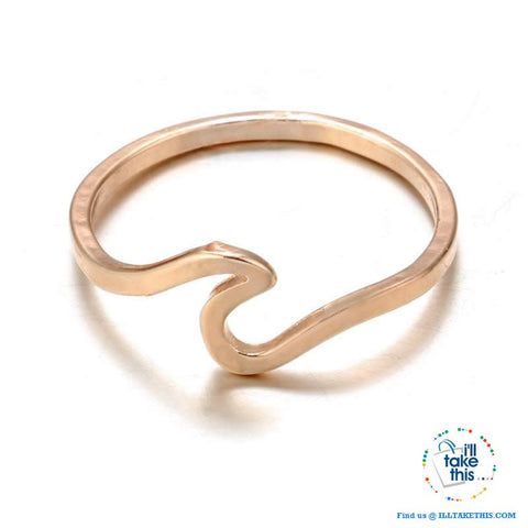 Image of Minimalist Wave Rings for Women, Midi Ring Knuckle in Rose Gold, Gold or Silver - I'LL TAKE THIS