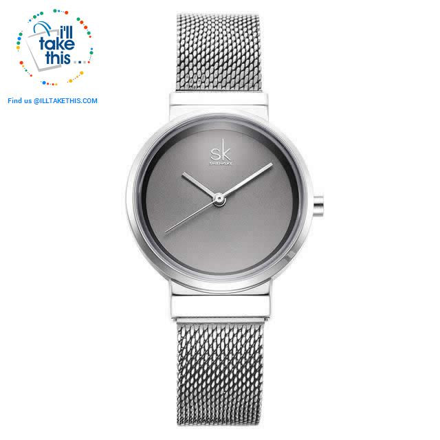 Minimalist Women's close-weave mesh wristwatch, 3 color options set in Silver - I'LL TAKE THIS