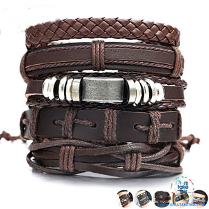 Multistack individual Men's/Women's Punk Bracelets, Handmade Leather Wristband Bracelet Rope Jewelry