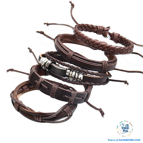 Multistack individual Men's/Women's Punk Bracelets, Handmade Leather Wristband Bracelet Rope Jewelry - I'LL TAKE THIS